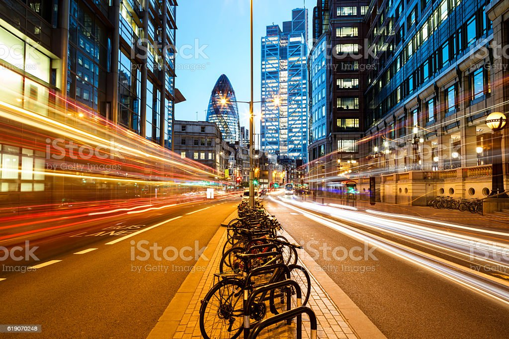 Traffic at Night in London, England stock photo