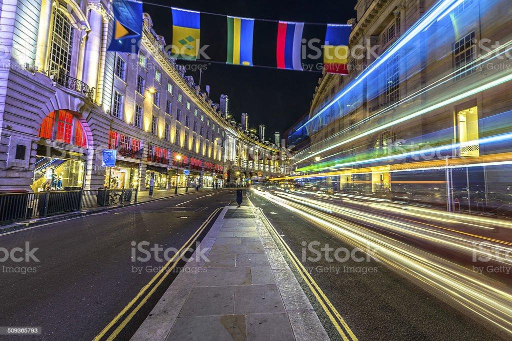 Traffic at night in London stock photo