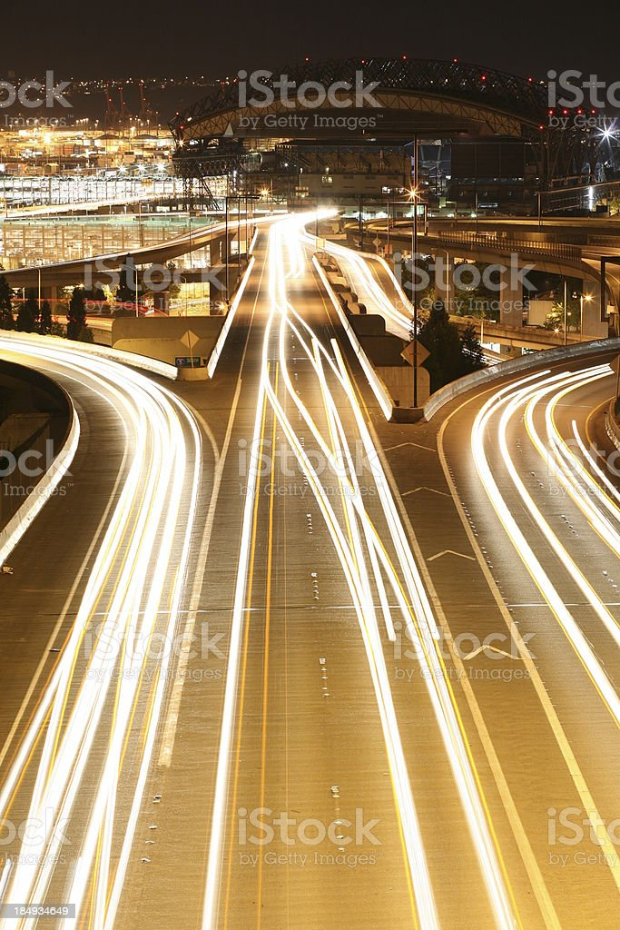 Traffic at night. stock photo