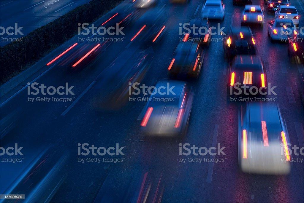 traffic at nightfall royalty-free stock photo