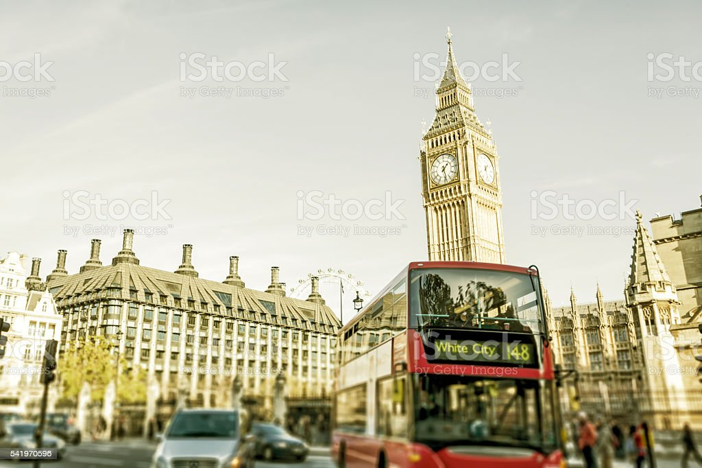 Traffic at Parliament Square in London stock photo