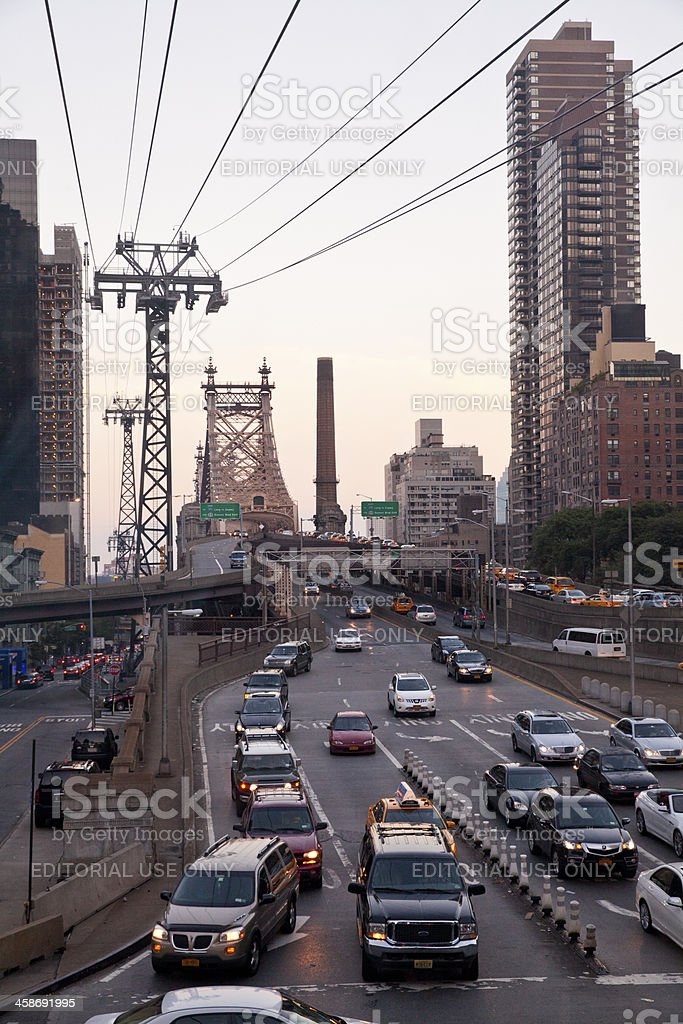 Traffic at Queensboro Bridge in New York City royalty-free stock photo