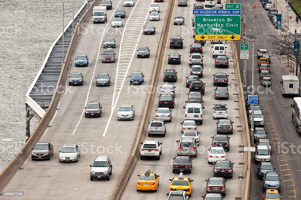 Traffic at Rush Hour on FDR Drive, Manhattan, New York stock photo