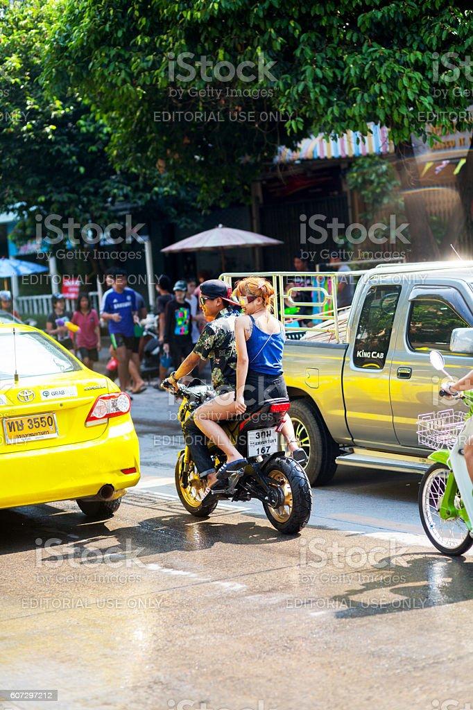 Traffic at Sonkran festival stock photo