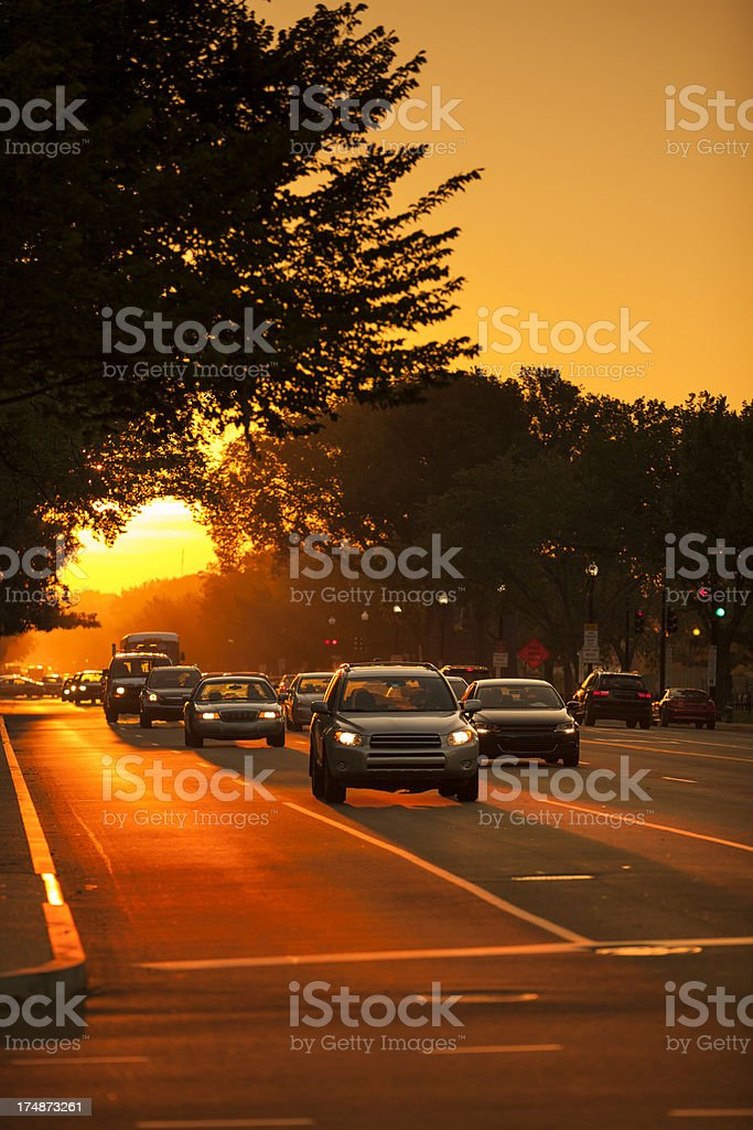 Traffic at sunset royalty-free stock photo