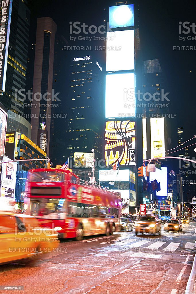 Traffic at Times Square night royalty-free stock photo