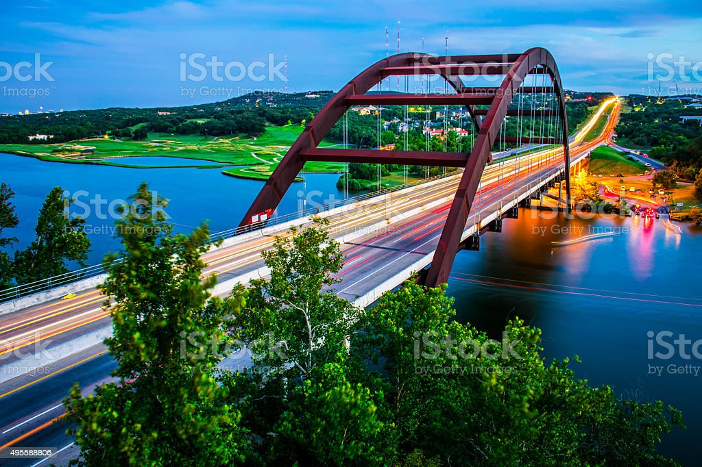 Traffic Austin Texas Pennybacker Bridge Night Timelapse 360 Bridge stock photo
