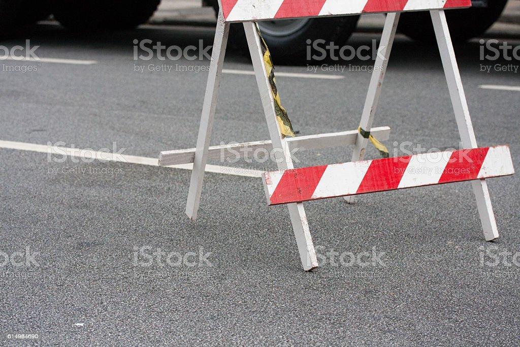 Traffic barrier trestle stock photo