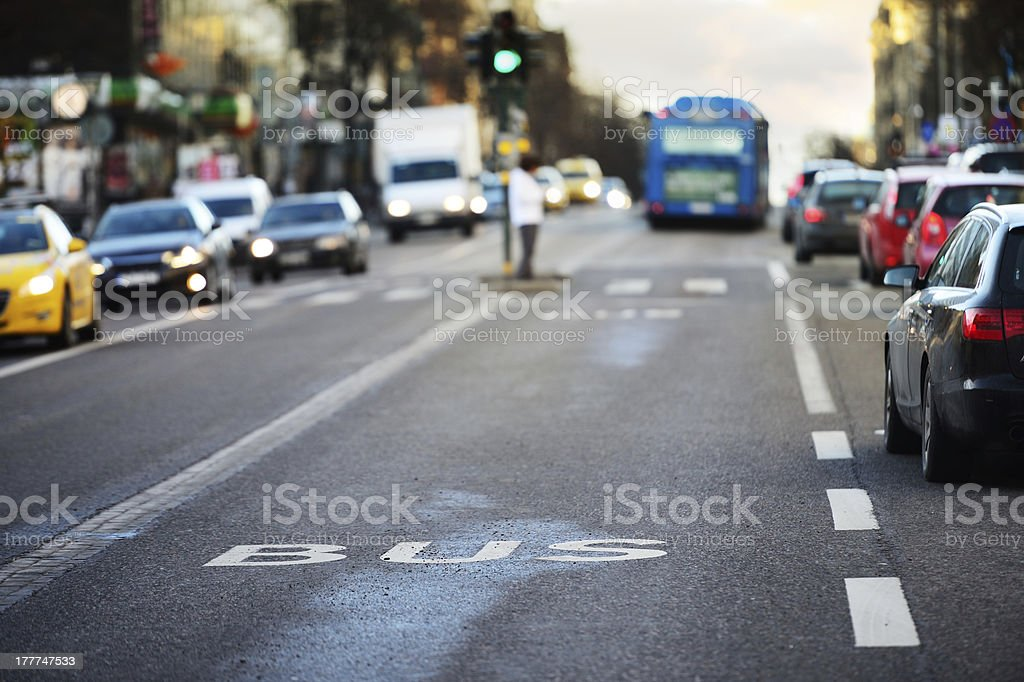 Traffic, bus cars pedestrian royalty-free stock photo