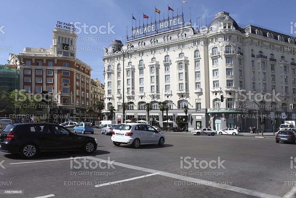 Traffic by Metropolis building in the center of Madrid, Spain royalty-free stock photo