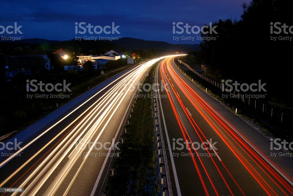 Traffic by night stock photo
