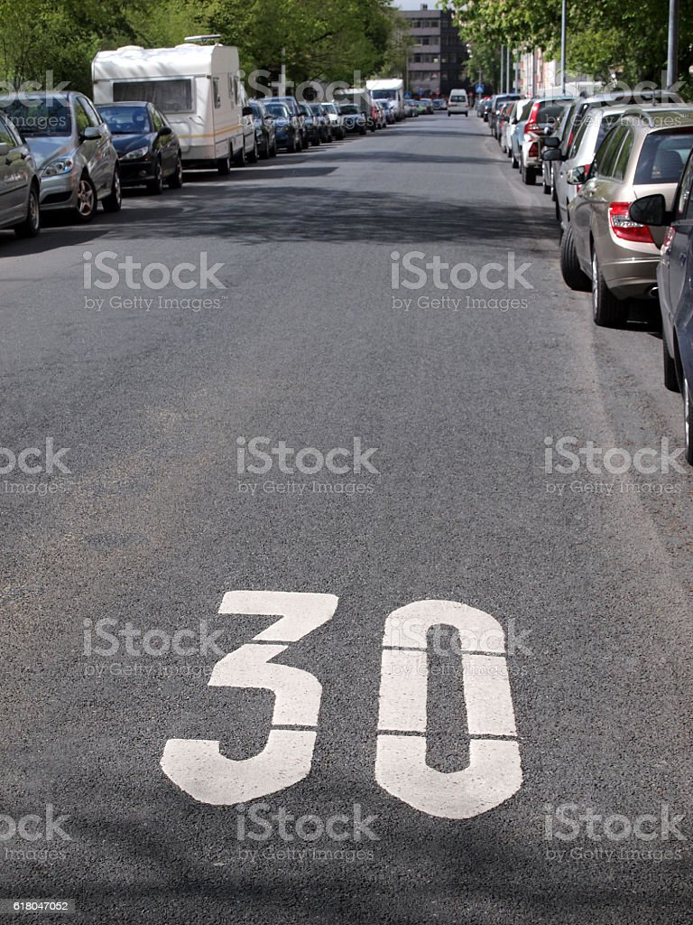 traffic calmed area stock photo