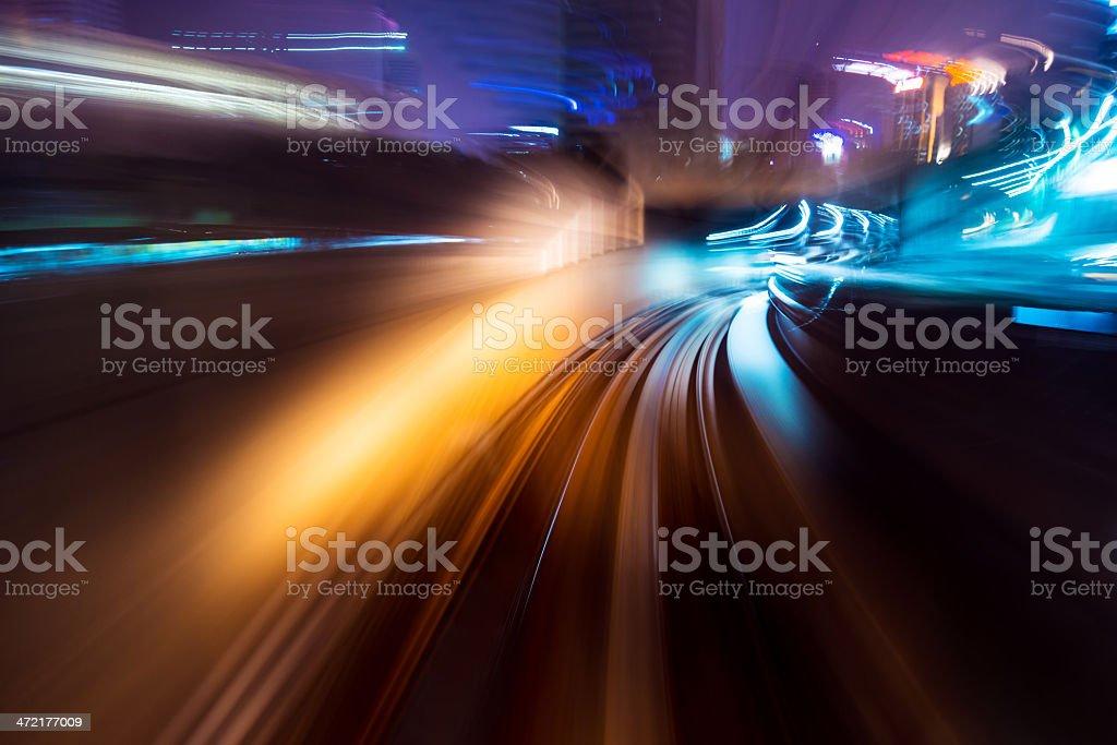 traffic car light stream at night in the city stock photo
