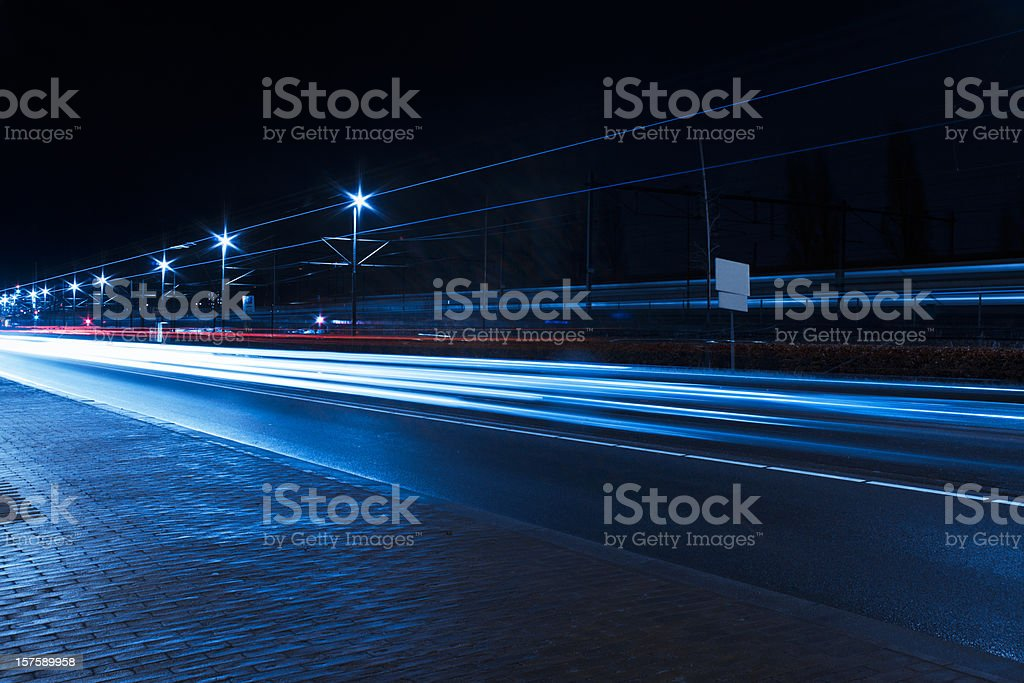 Traffic car light trails, Amsterdam stock photo