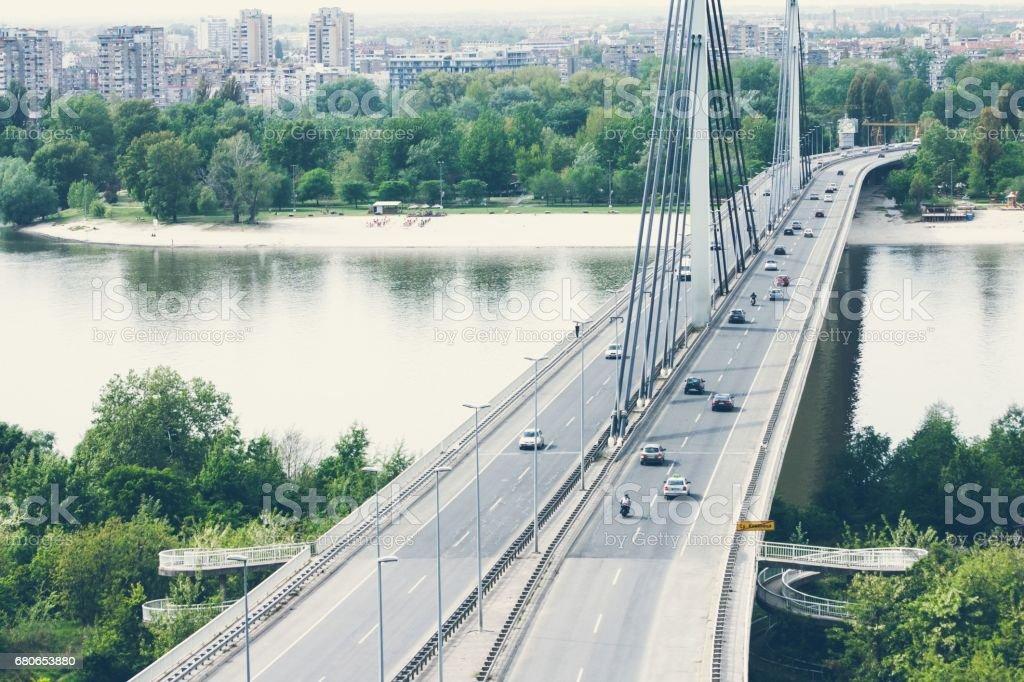 Traffic cars driving over Liberty bridge in Novi Sad, Serbia stock photo