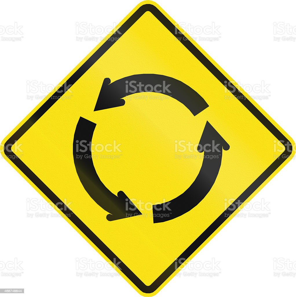 Traffic Circle Ahead In Chile stock photo