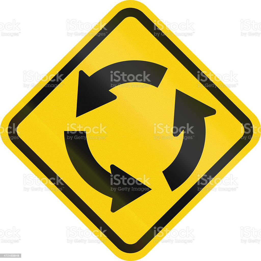 Traffic Circle Ahead In Colombia stock photo