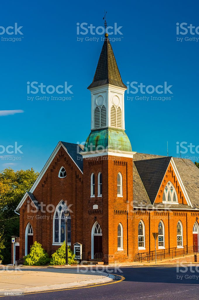 Traffic circle and church in New Oxford, Pennsylvania. stock photo