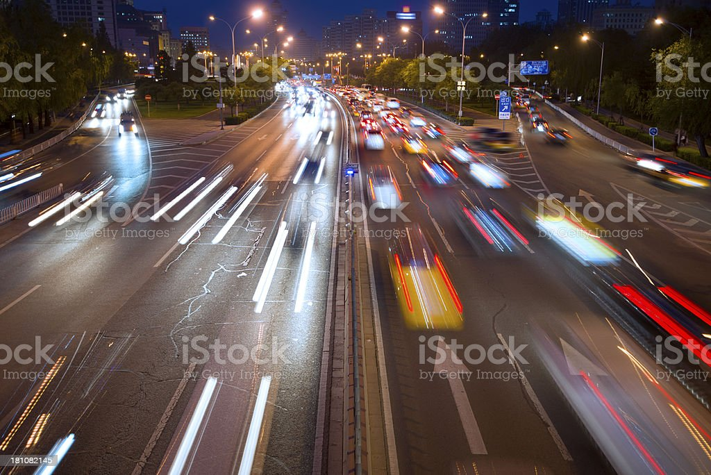traffic city in night royalty-free stock photo