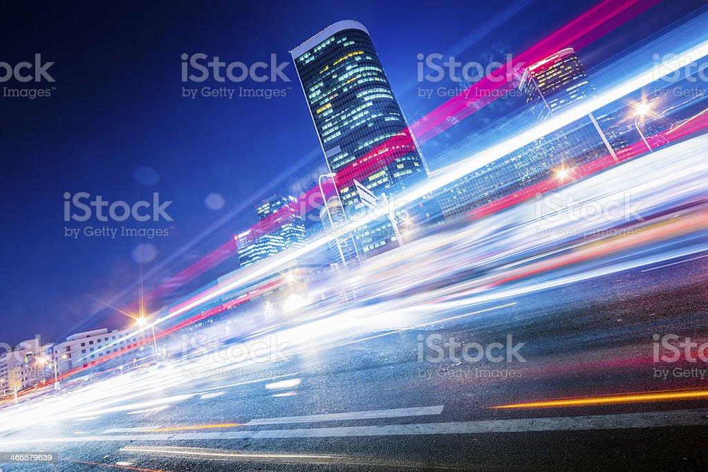 traffic city night stock photo
