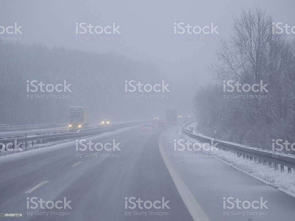 traffic cold winter day stock photo