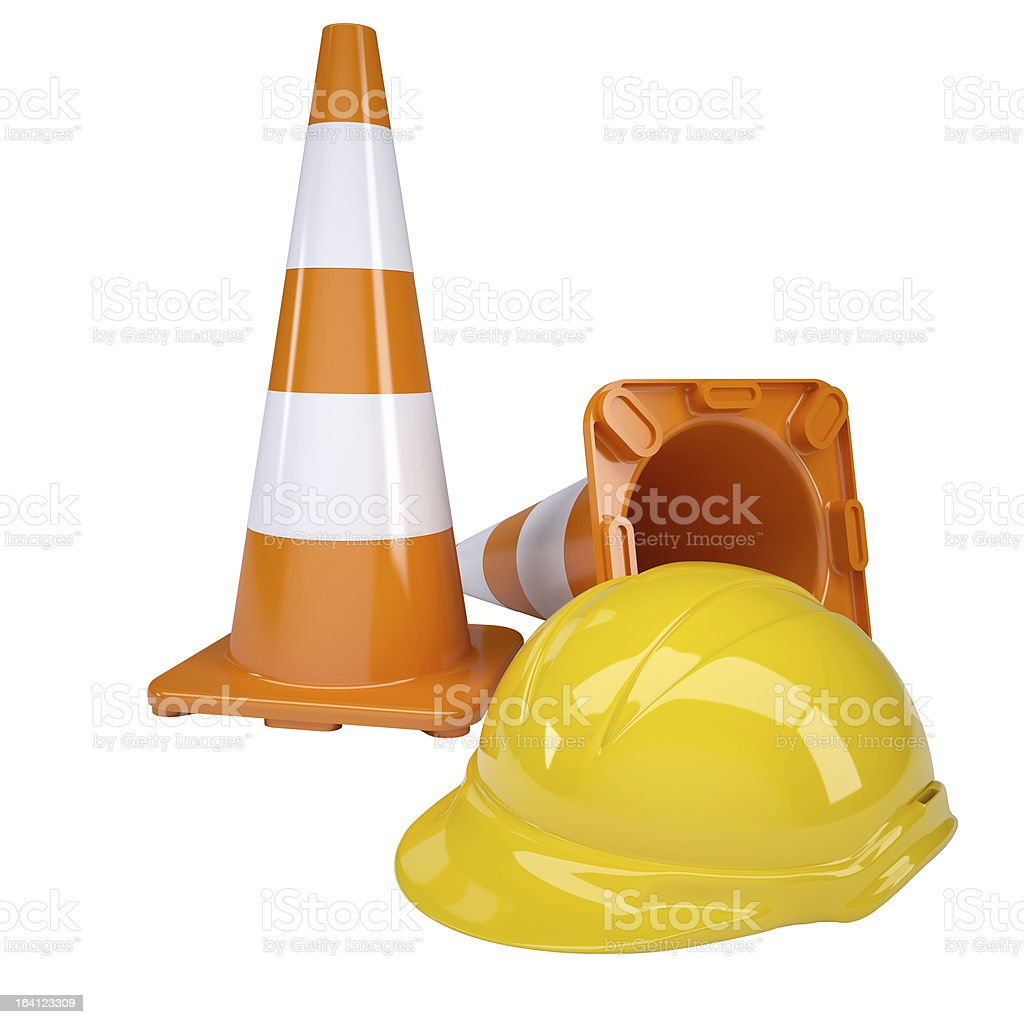 Traffic cone and helmet royalty-free stock photo