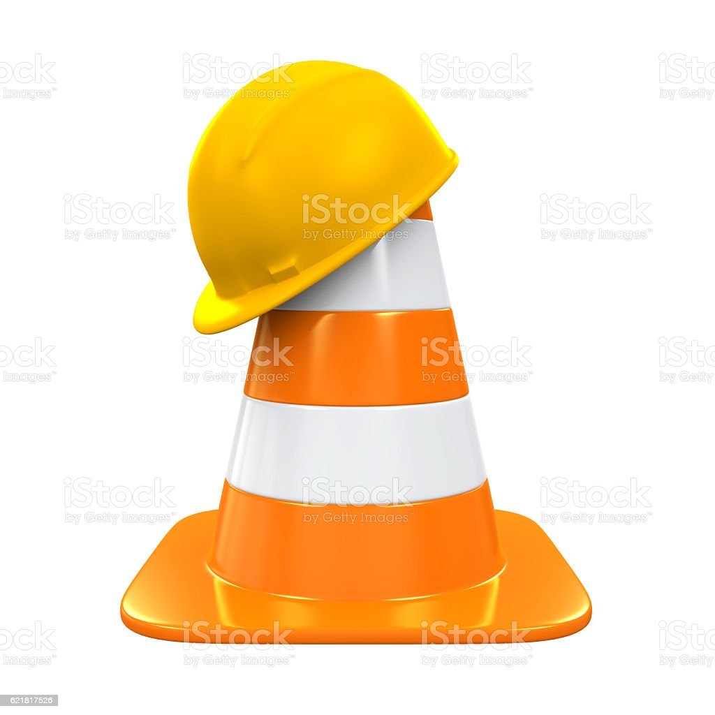 Traffic Cone and Safety Helmet stock photo
