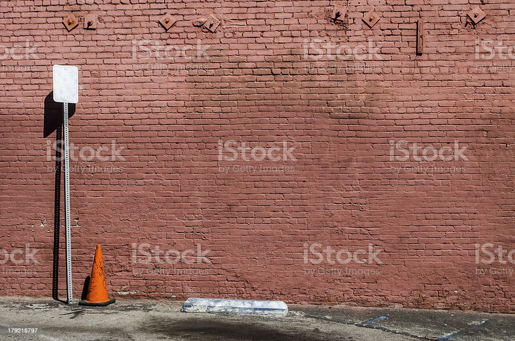 traffic cone in parking area royalty-free stock photo
