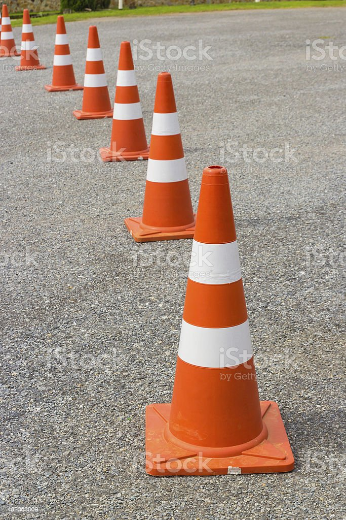 traffic cone in row royalty-free stock photo