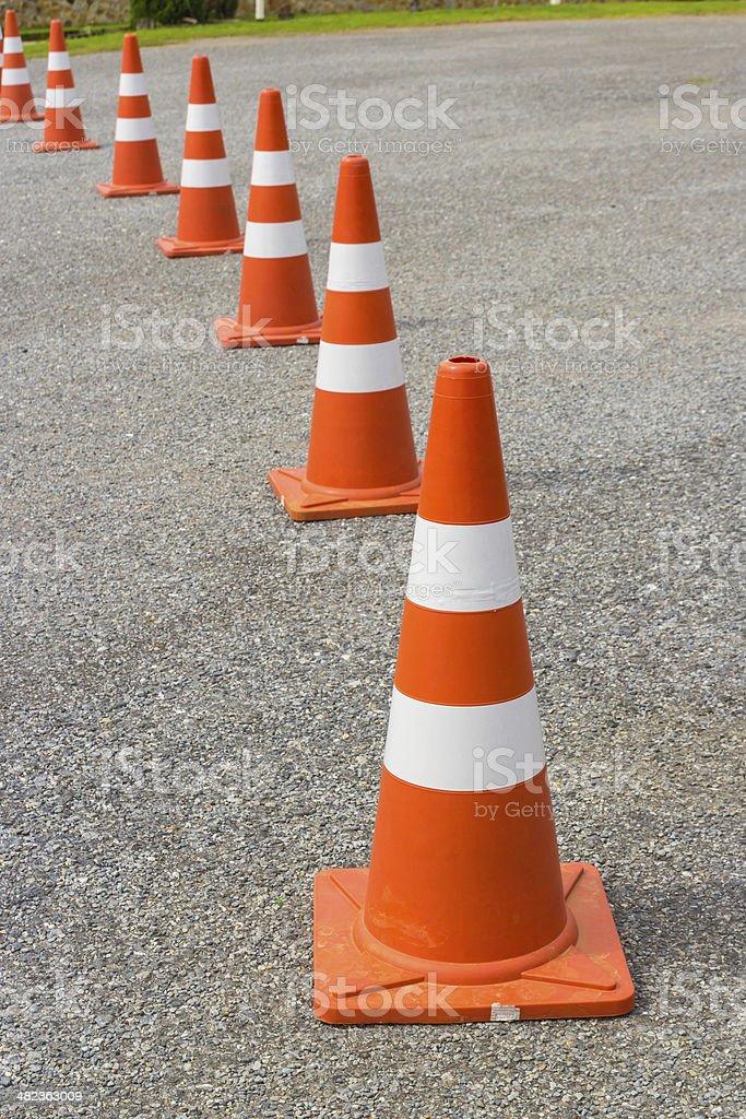 traffic cone in row stock photo