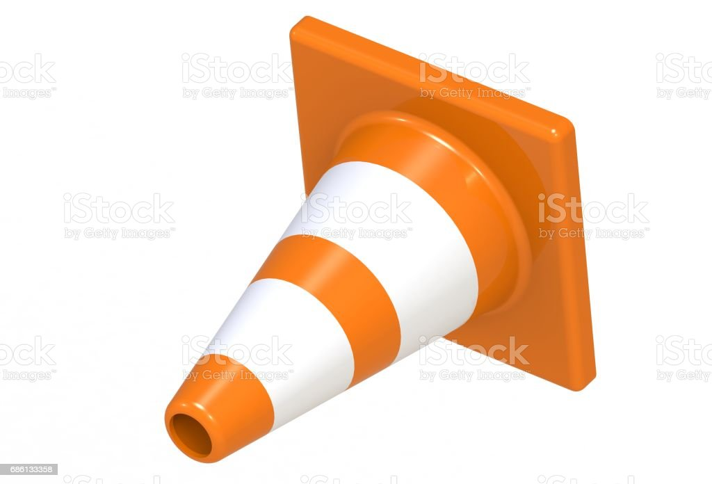 traffic cone isolated on a white background stock photo