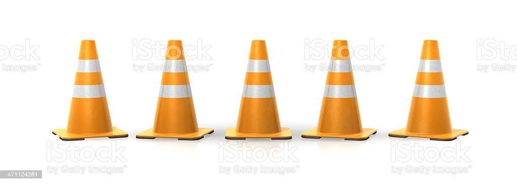 道路工事用三角コーンのラインアップ ロイヤリティフリーストックフォト