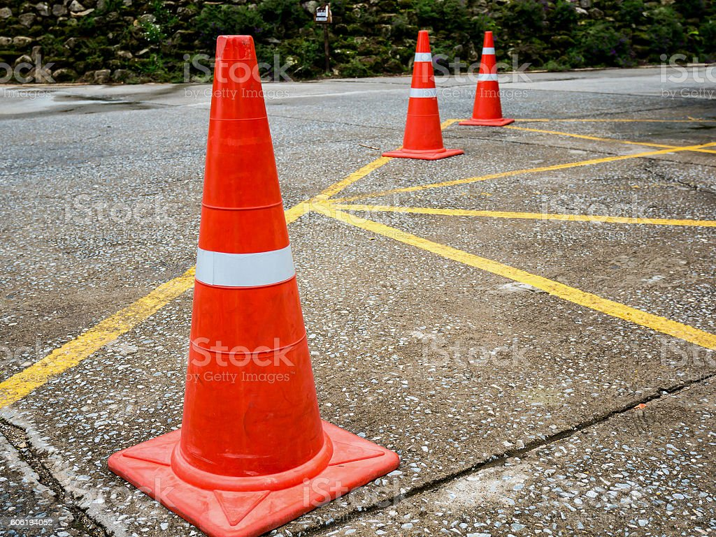 Traffic cone on the asphalt road stock photo