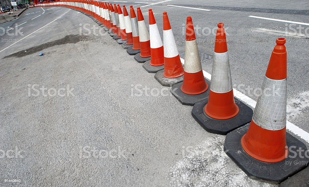 Traffic cone perspective royalty-free stock photo