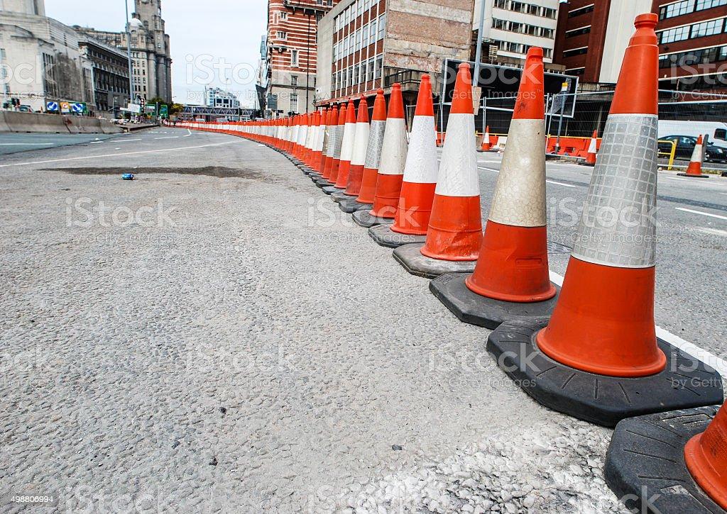Traffic cone roadworks perspective stock photo
