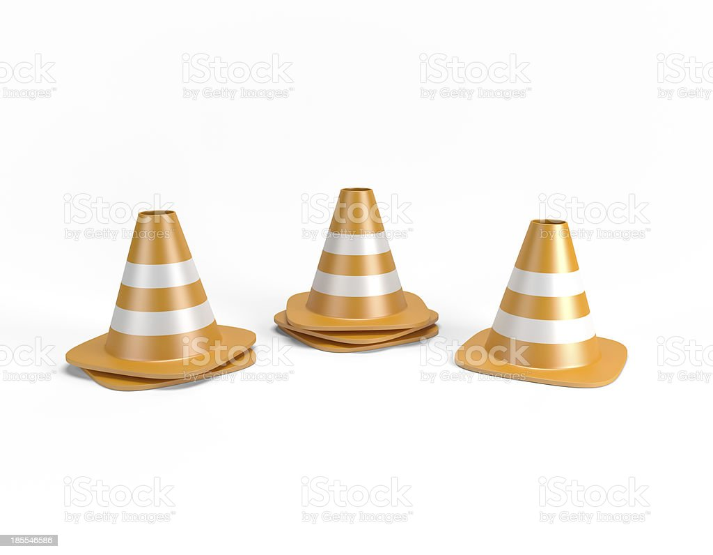 Traffic cones 3D with clipping path royalty-free stock photo