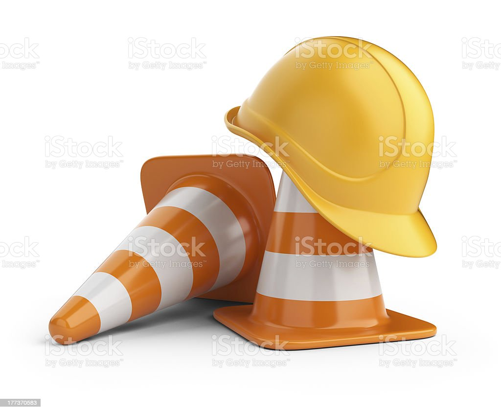 Traffic cones and hardhat 3D. Isolated stock photo