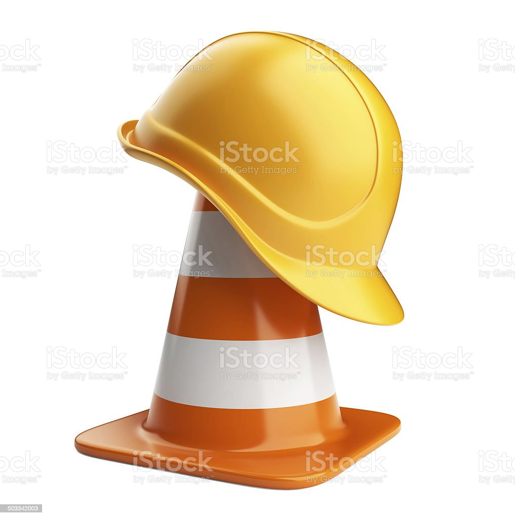 Traffic cones and hardhat 3D. Road sign. Icon isolated stock photo
