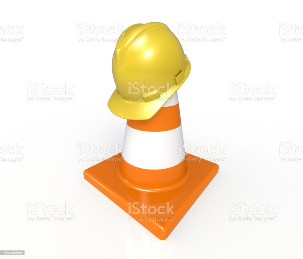 Traffic cones and hardhat. Road sign. Icon isolated on white background stock photo