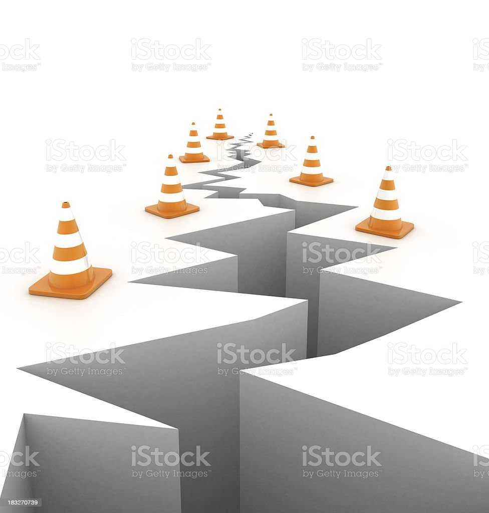 Traffic cones around hole royalty-free stock photo
