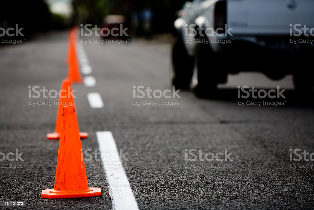 Traffic cones at dusk or dawn stock photo