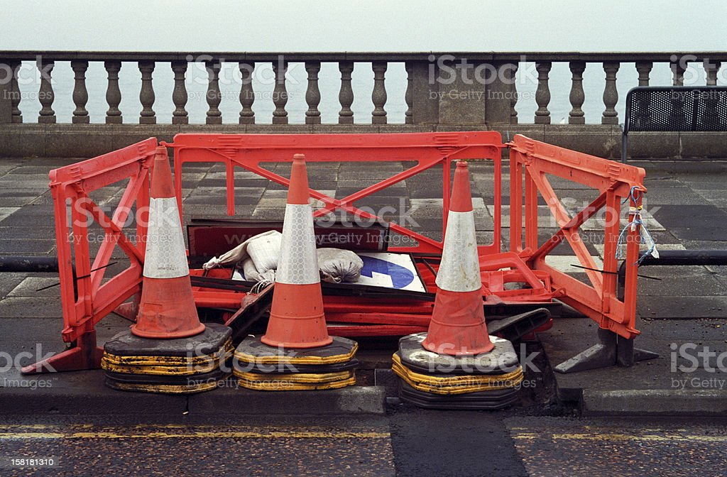Traffic cones at the sea-roadworks, seafront stock photo