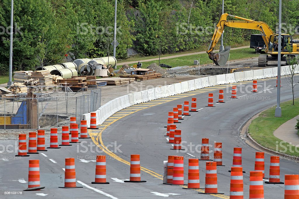 Traffic Cones In Use On A Water Main Replacement Project stock photo