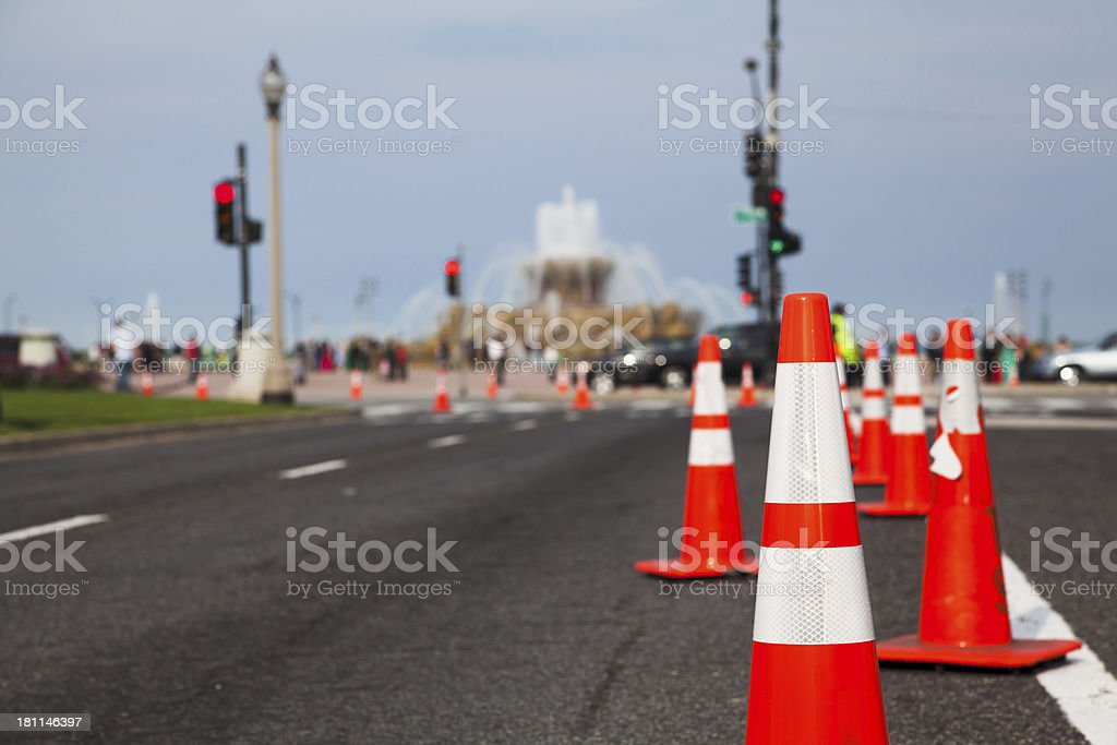 Traffic cones on Chicago street stock photo