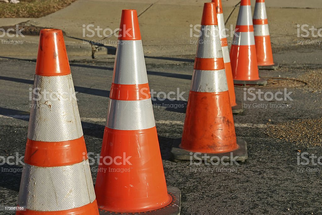 Traffic cones on old road (USA) royalty-free stock photo