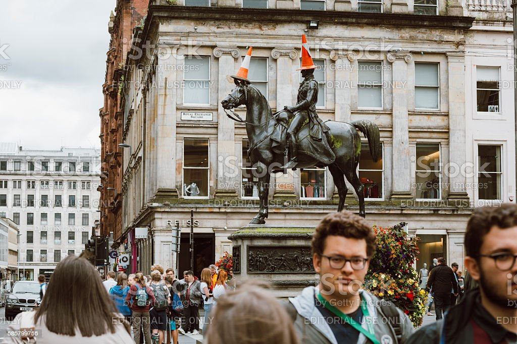 Traffic Cones on the Duke of Wellington Statue, Glasgow stock photo