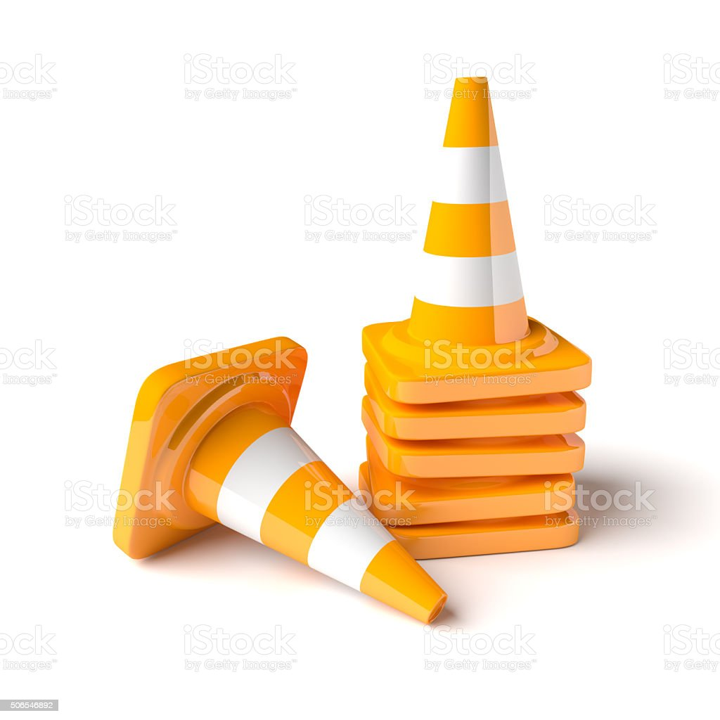 Traffic cones on the white background stock photo
