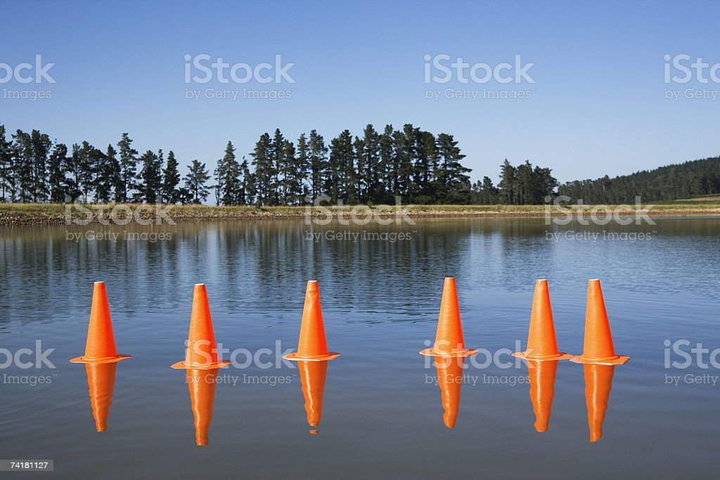 Traffic cones on water with trees royalty-free stock photo