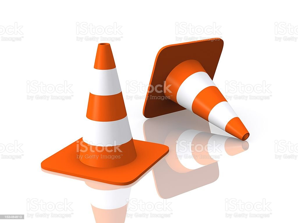 Traffic Cones Reflected royalty-free stock photo
