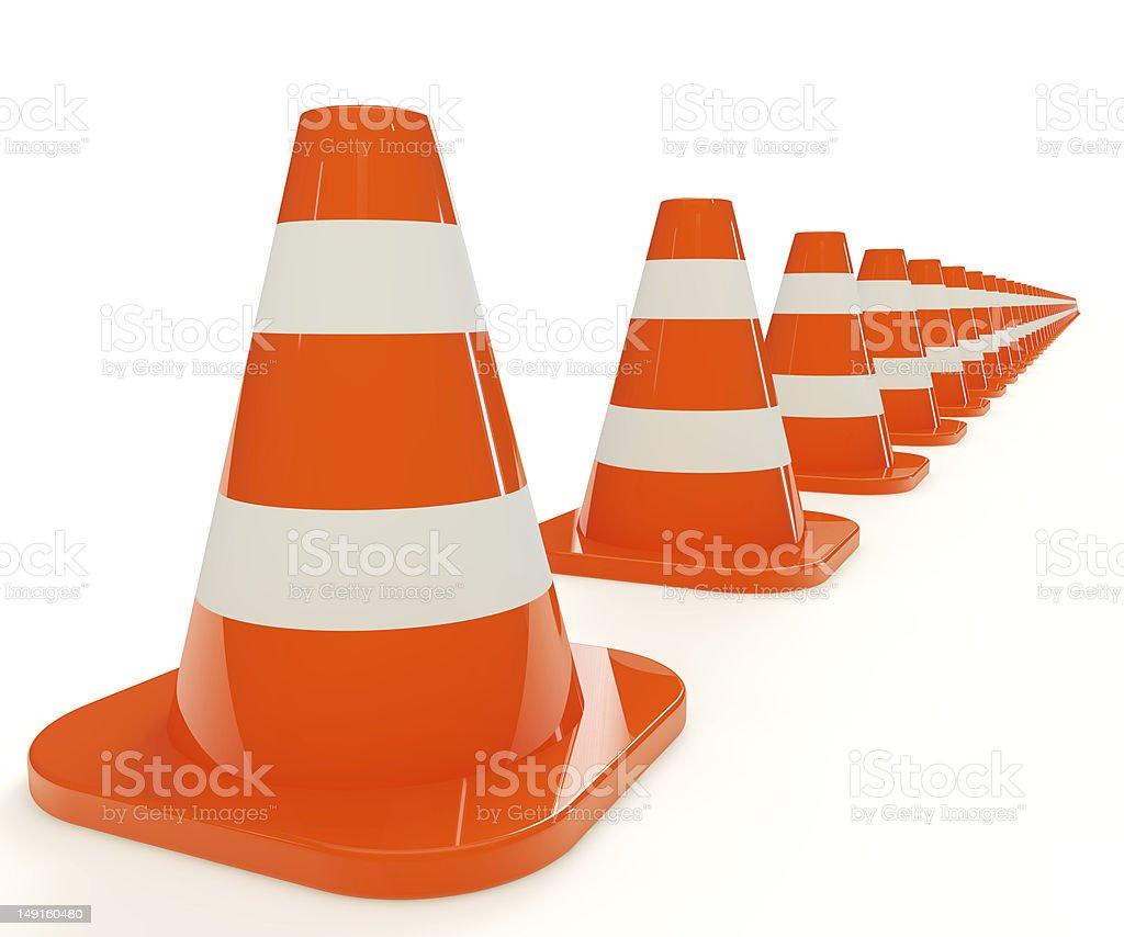 Traffic cones. Row royalty-free stock photo